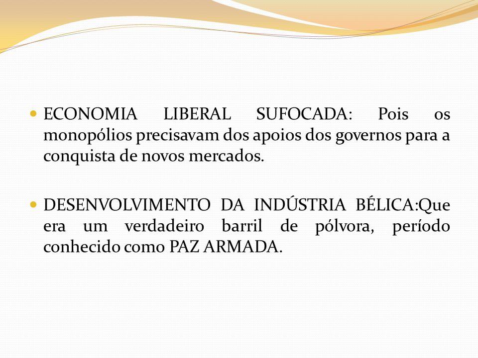 ECONOMIA LIBERAL SUFOCADA: Pois os monopólios precisavam dos apoios dos governos para a conquista de novos mercados. DESENVOLVIMENTO DA INDÚSTRIA BÉLI