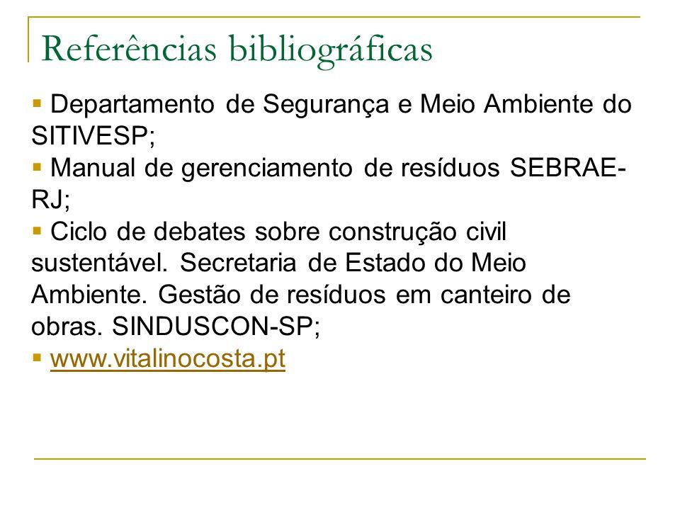 Referências bibliográficas  Departamento de Segurança e Meio Ambiente do SITIVESP;  Manual de gerenciamento de resíduos SEBRAE- RJ;  Ciclo de debates sobre construção civil sustentável.