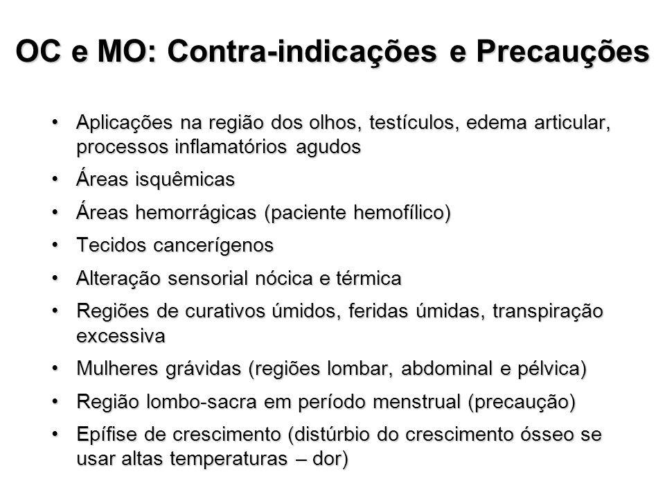 OC e MO: Contra-indicações e Precauções Aplicações na região dos olhos, testículos, edema articular, processos inflamatórios agudosAplicações na regiã