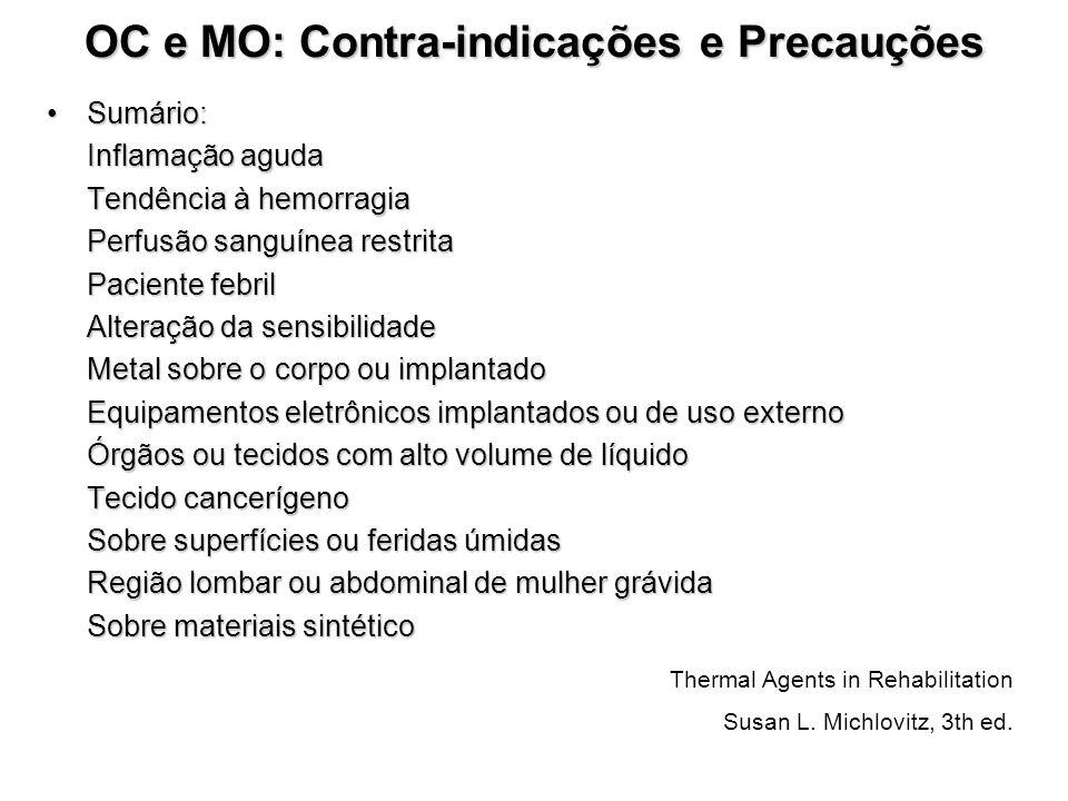 OC e MO: Contra-indicações e Precauções Sumário:Sumário: Inflamação aguda Tendência à hemorragia Perfusão sanguínea restrita Paciente febril Alteração