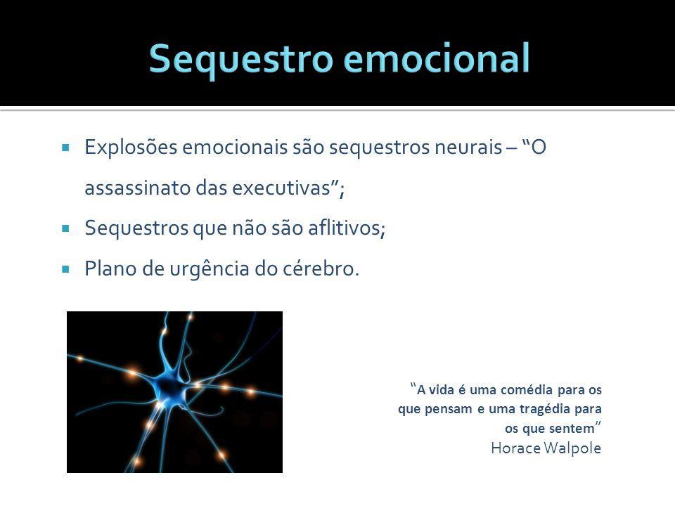 """"""" A vida é uma comédia para os que pensam e uma tragédia para os que sentem """" Horace Walpole  Explosões emocionais são sequestros neurais – """"O assass"""