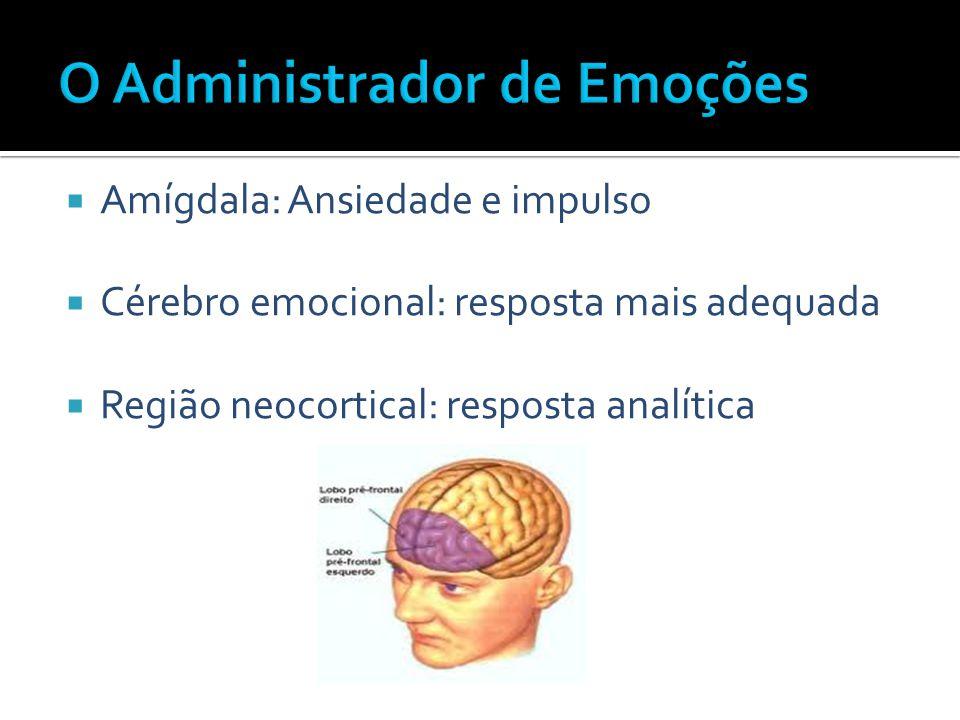  Amígdala: Ansiedade e impulso  Cérebro emocional: resposta mais adequada  Região neocortical: resposta analítica