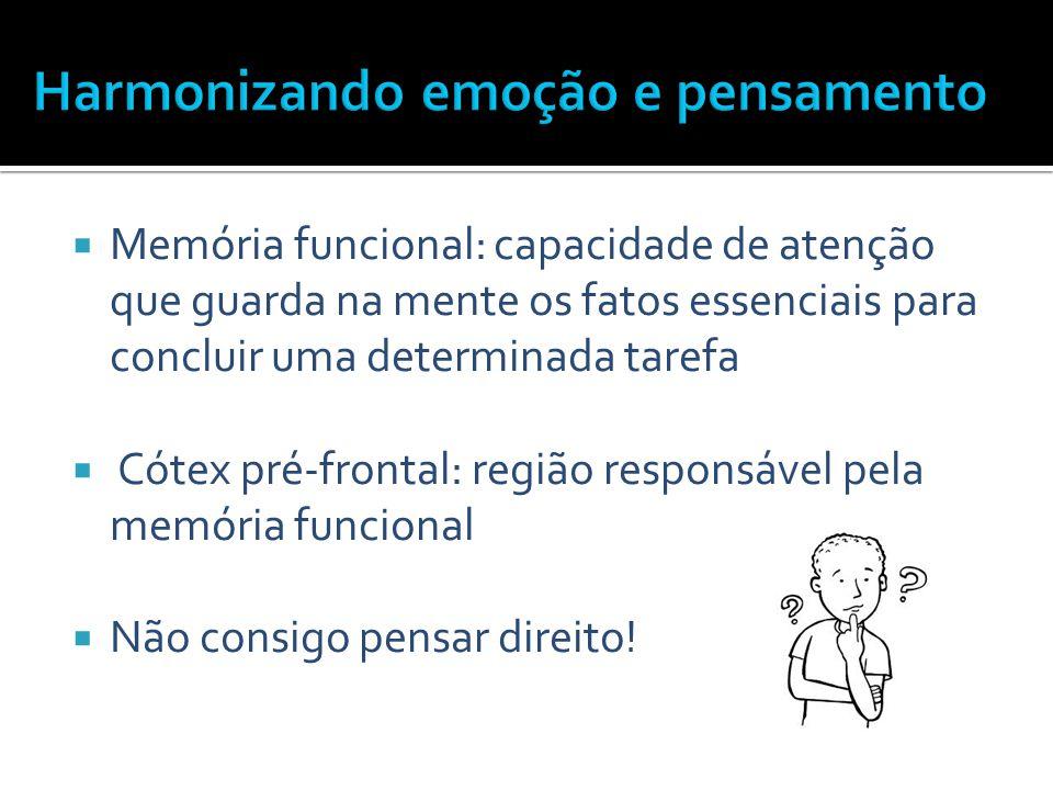  Memória funcional: capacidade de atenção que guarda na mente os fatos essenciais para concluir uma determinada tarefa  Cótex pré-frontal: região re