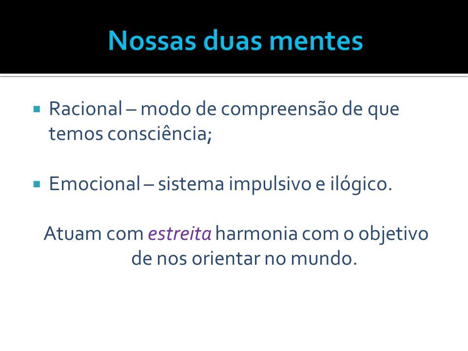  Racional – modo de compreensão de que temos consciência;  Emocional – sistema impulsivo e ilógico. Atuam com estreita harmonia com o objetivo de no