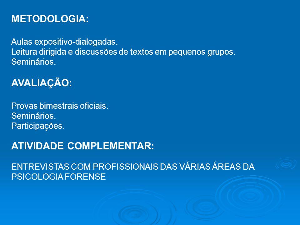REFERÊNCIAS BIBLIOGRÁFICAS: a)Básica BRITO, L.(org.) Temas de Psicologia Jurídica.