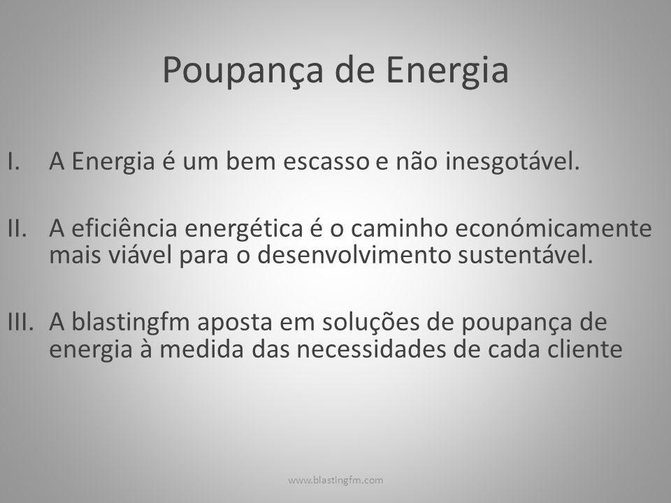 Poupança de Energia I.A Energia é um bem escasso e não inesgotável. II.A eficiência energética é o caminho económicamente mais viável para o desenvolv