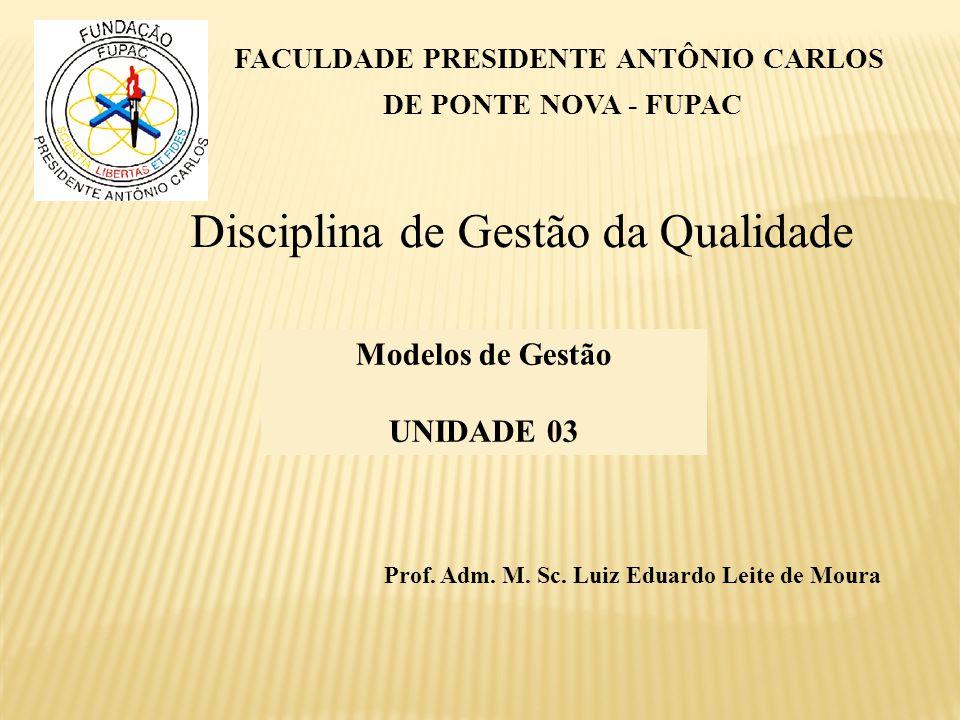 Disciplina de Gestão da Qualidade FACULDADE PRESIDENTE ANTÔNIO CARLOS DE PONTE NOVA - FUPAC Modelos de Gestão UNIDADE 03 Prof. Adm. M. Sc. Luiz Eduard