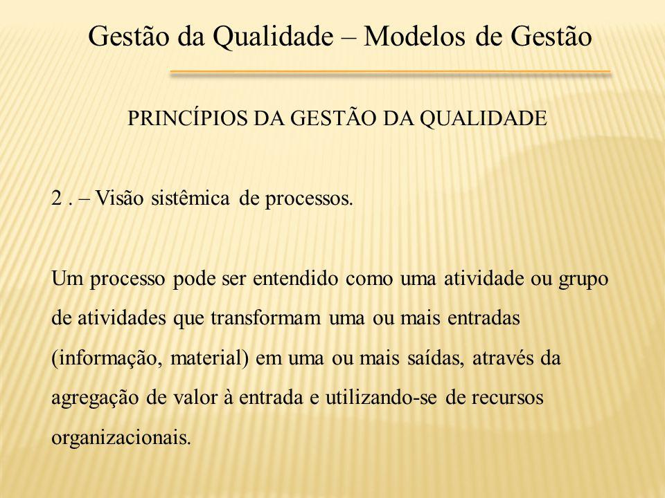 Gestão da Qualidade – Modelos de Gestão PRINCÍPIOS DA GESTÃO DA QUALIDADE 2. – Visão sistêmica de processos. Um processo pode ser entendido como uma a
