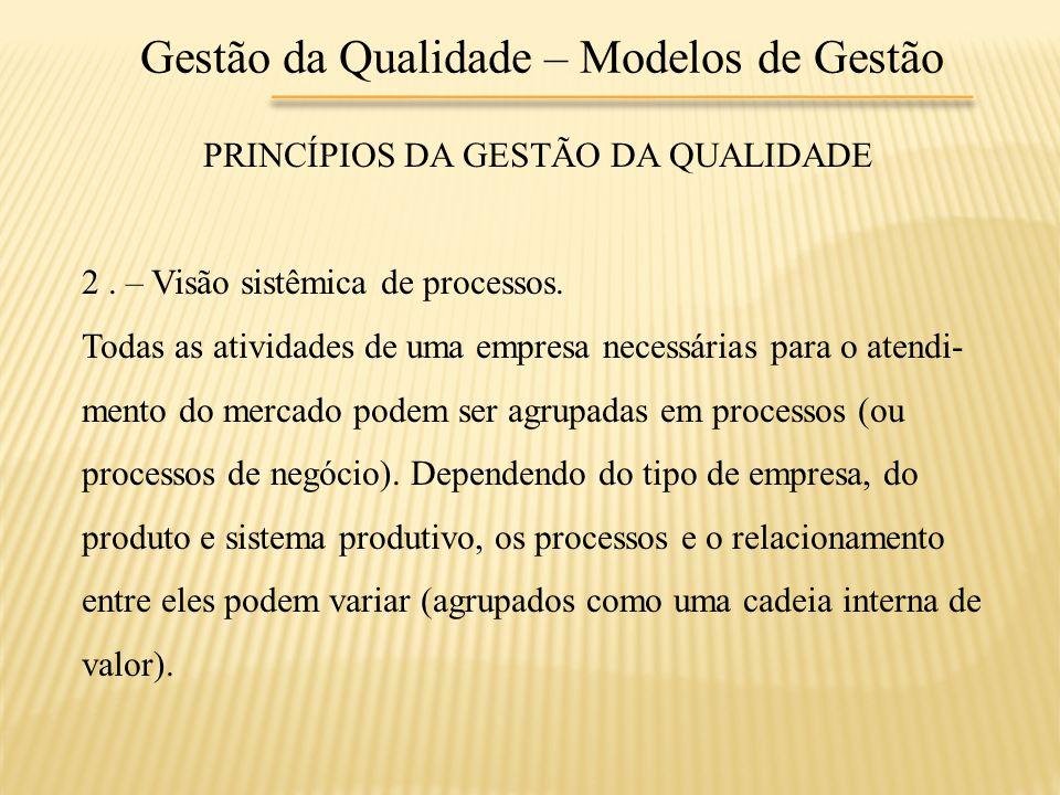 Gestão da Qualidade – Modelos de Gestão PRINCÍPIOS DA GESTÃO DA QUALIDADE 2. – Visão sistêmica de processos. Todas as atividades de uma empresa necess