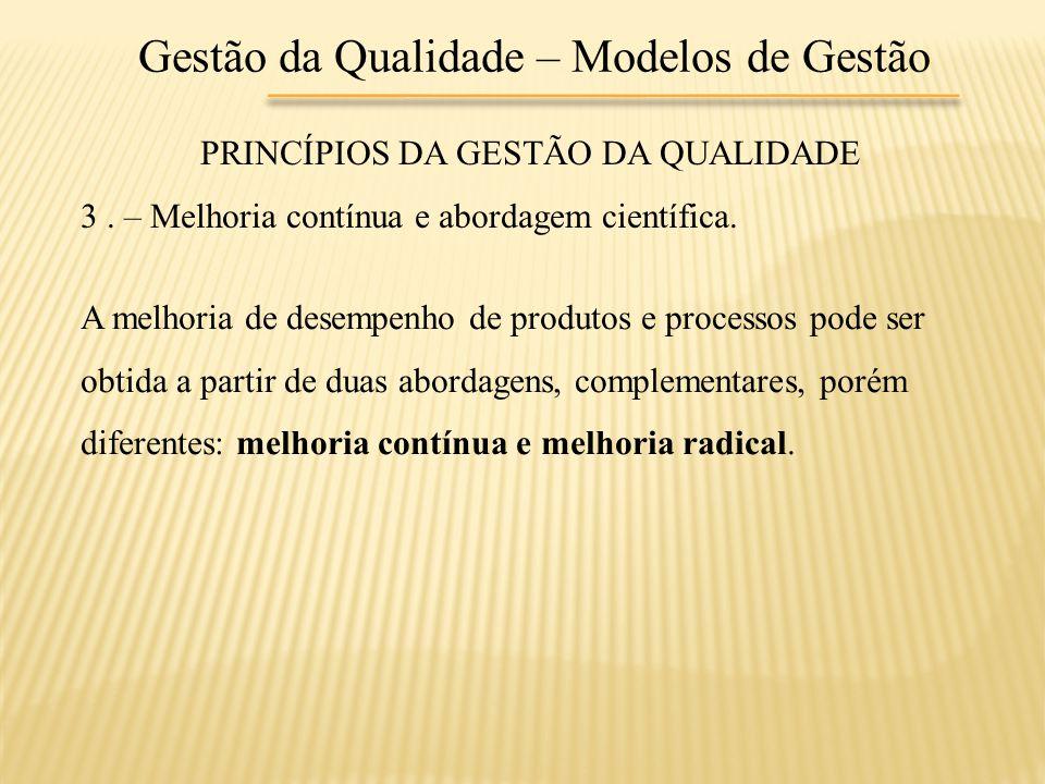 Gestão da Qualidade – Modelos de Gestão PRINCÍPIOS DA GESTÃO DA QUALIDADE 3. – Melhoria contínua e abordagem científica. A melhoria de desempenho de p