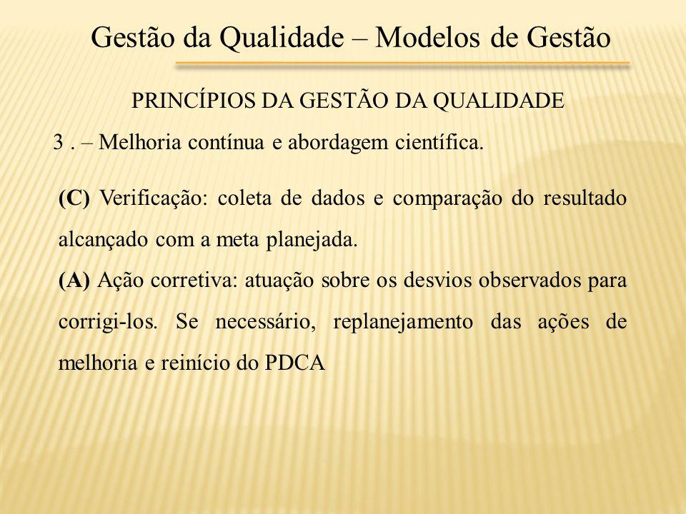 Gestão da Qualidade – Modelos de Gestão PRINCÍPIOS DA GESTÃO DA QUALIDADE 3. – Melhoria contínua e abordagem científica. (C) Verificação: coleta de da