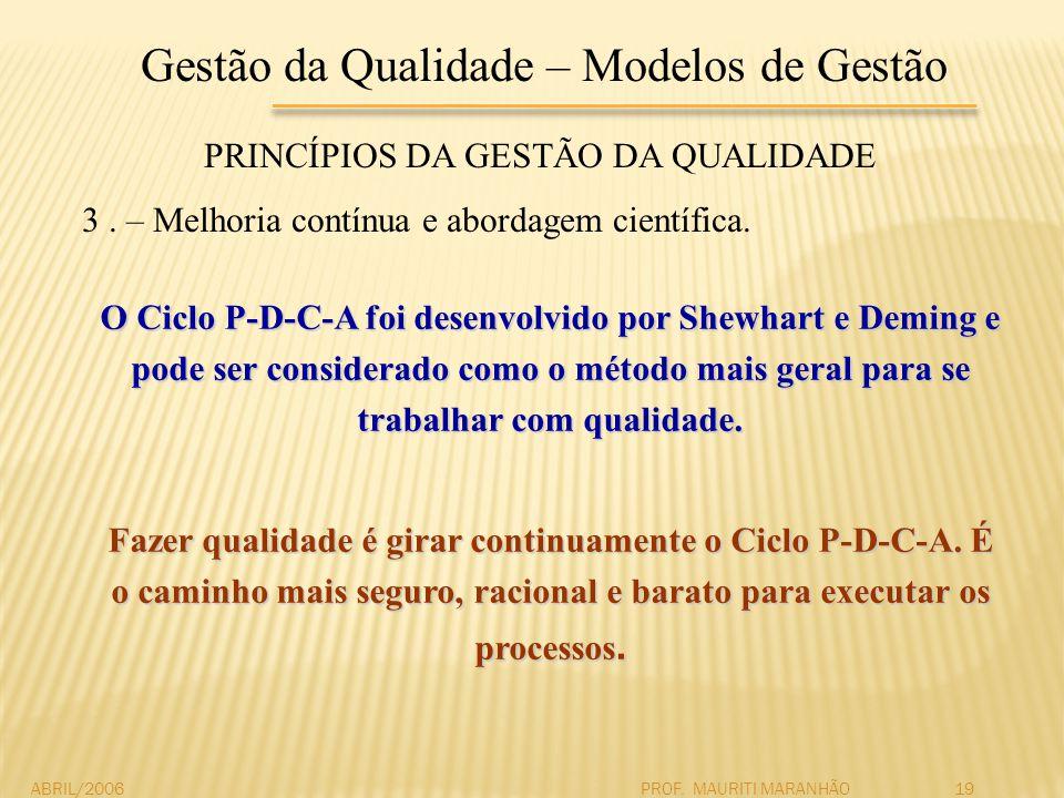 Gestão da Qualidade – Modelos de Gestão PRINCÍPIOS DA GESTÃO DA QUALIDADE 3. – Melhoria contínua e abordagem científica. ABRIL/2006PROF. MAURITI MARAN