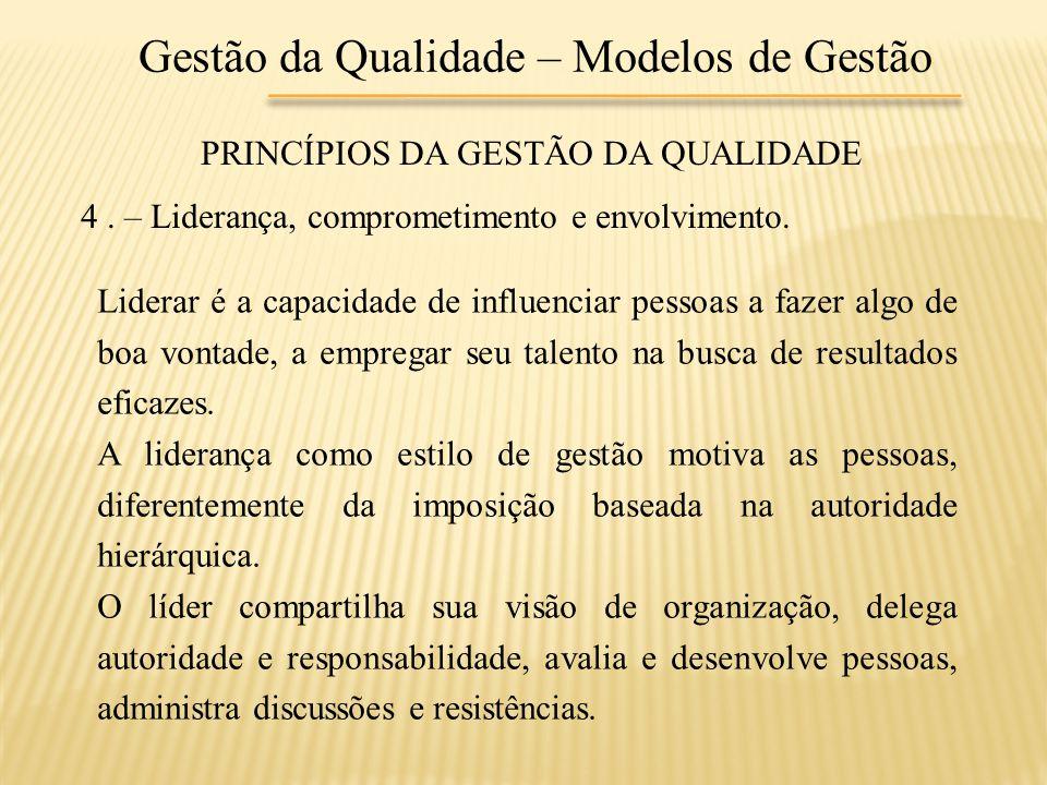 Gestão da Qualidade – Modelos de Gestão PRINCÍPIOS DA GESTÃO DA QUALIDADE 4. – Liderança, comprometimento e envolvimento. Liderar é a capacidade de in
