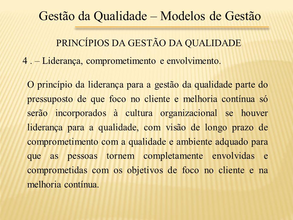 Gestão da Qualidade – Modelos de Gestão PRINCÍPIOS DA GESTÃO DA QUALIDADE 4. – Liderança, comprometimento e envolvimento. O princípio da liderança par