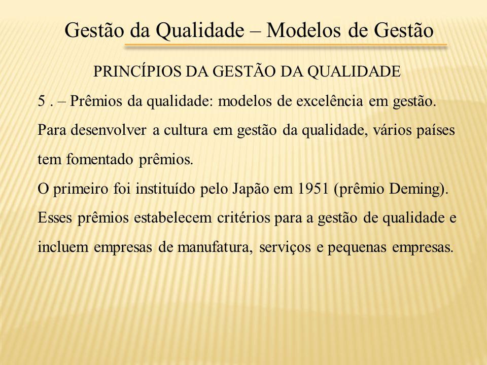 Gestão da Qualidade – Modelos de Gestão PRINCÍPIOS DA GESTÃO DA QUALIDADE 5. – Prêmios da qualidade: modelos de excelência em gestão. Para desenvolver