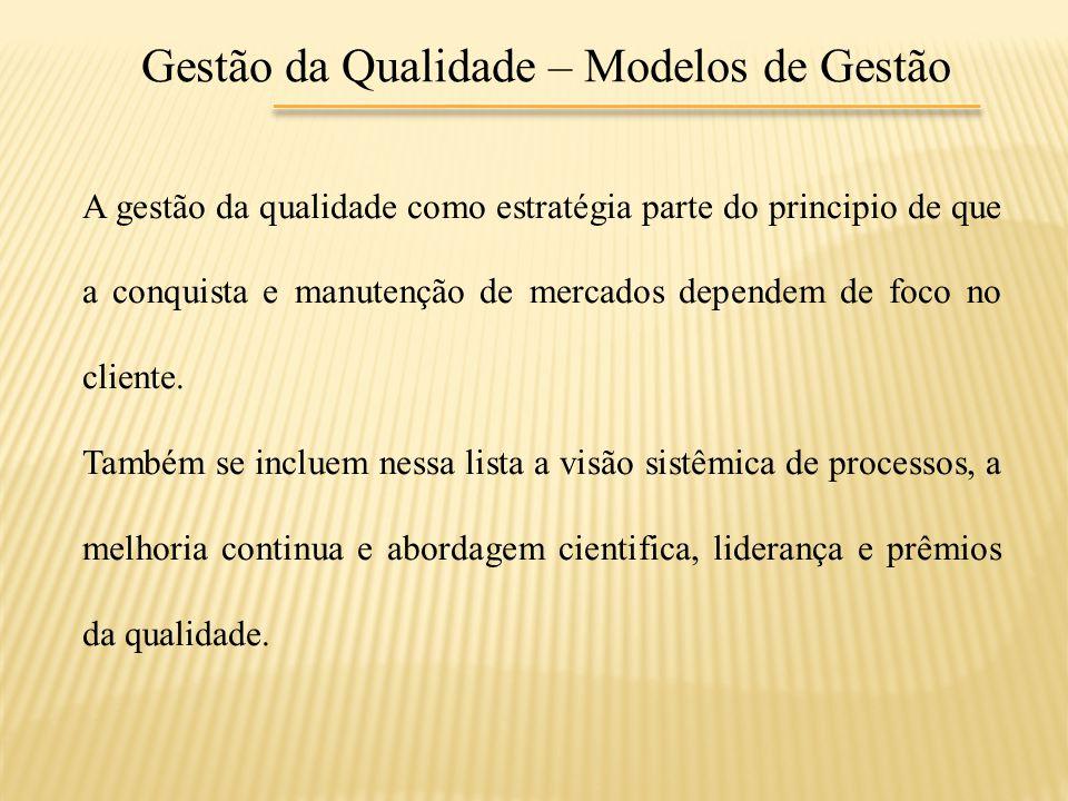 Gestão da Qualidade – Modelos de Gestão A gestão da qualidade como estratégia parte do principio de que a conquista e manutenção de mercados dependem