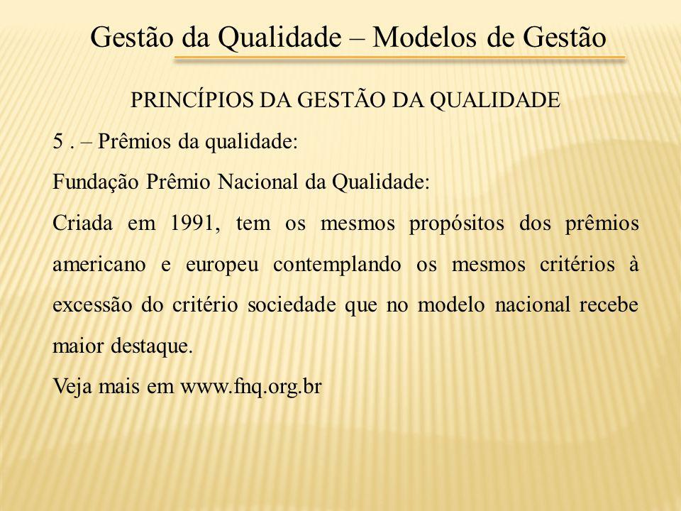 Gestão da Qualidade – Modelos de Gestão PRINCÍPIOS DA GESTÃO DA QUALIDADE 5. – Prêmios da qualidade: Fundação Prêmio Nacional da Qualidade: Criada em