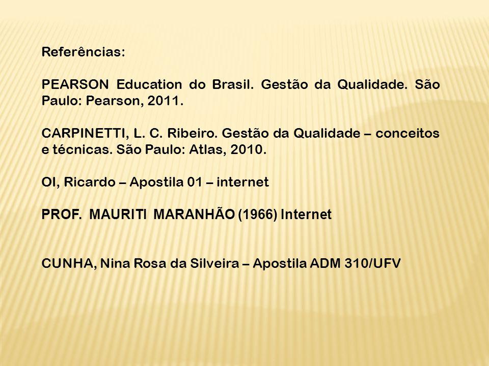 Referências: PEARSON Education do Brasil. Gestão da Qualidade. São Paulo: Pearson, 2011. CARPINETTI, L. C. Ribeiro. Gestão da Qualidade – conceitos e