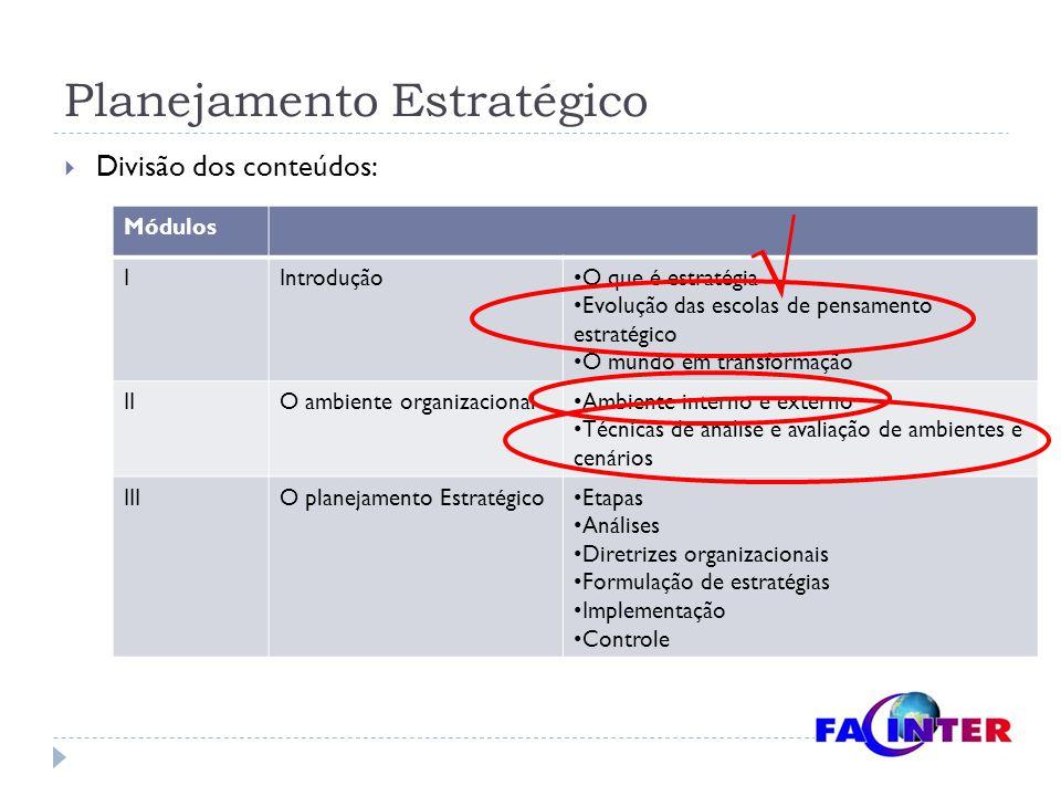Planejamento Estratégico  Divisão dos conteúdos: Módulos IIntrodução O que é estratégia Evolução das escolas de pensamento estratégico O mundo em tra