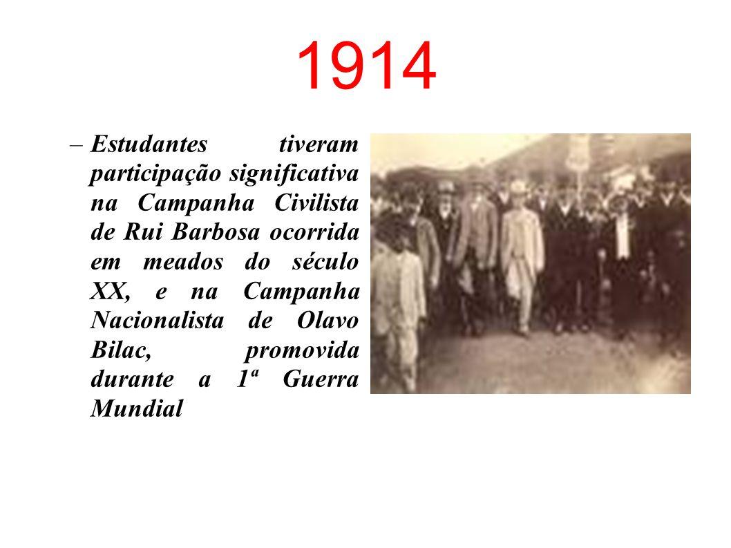 1901 –Fundação da Federação de Estudantes Brasileiros, que iniciou o processo de organização dos estudantes em entidades representativas.