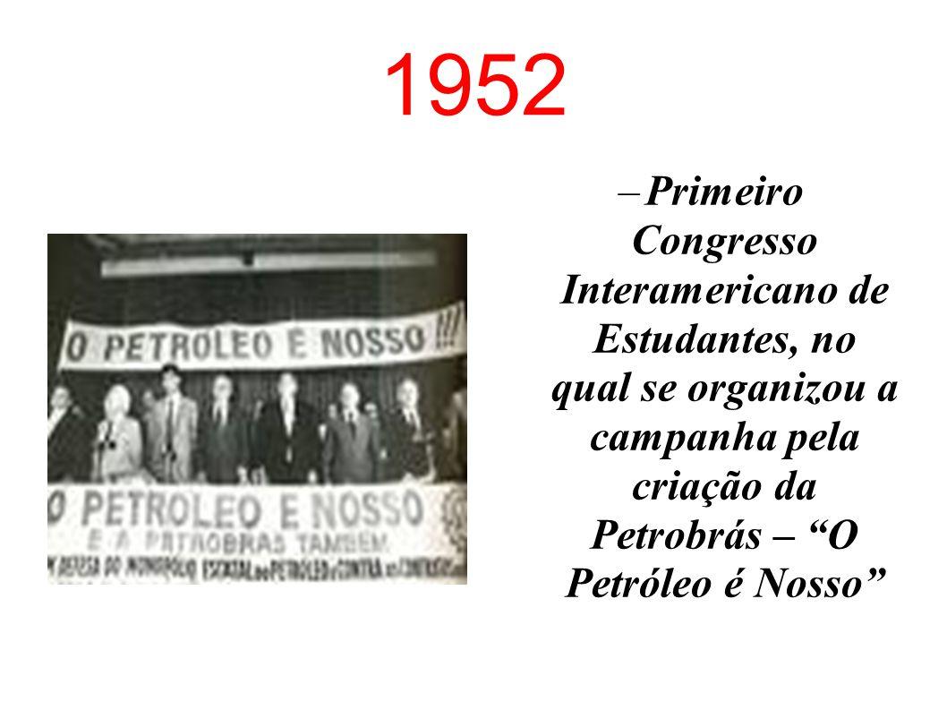 1937 Criação da União Nacional dos Estudantes (UNE), a entidade brasileira representativa dos estudantes universitários.