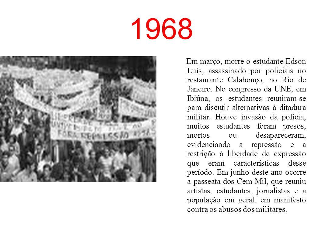 1964 –Em 1º de abril, o Golpe Militar derrubou o presidente João Goulart. A partir daí foi instituída a ditadura militar no Brasil, que durou até o an