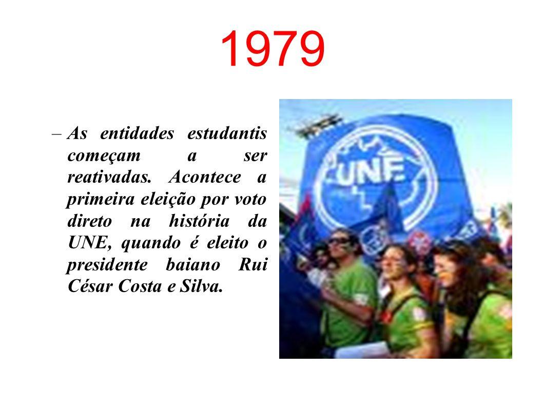 1968 Em março, morre o estudante Edson Luís, assassinado por policiais no restaurante Calabouço, no Rio de Janeiro. No congresso da UNE, em Ibiúna, os
