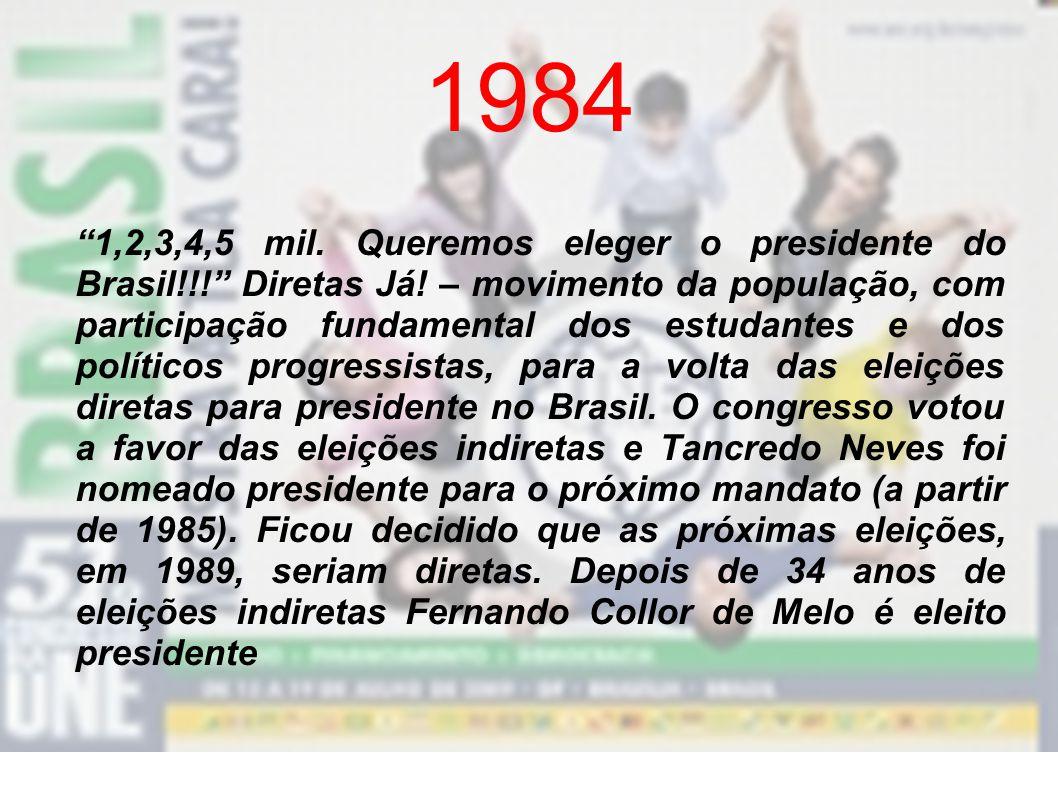 1979 –As entidades estudantis começam a ser reativadas. Acontece a primeira eleição por voto direto na história da UNE, quando é eleito o presidente b