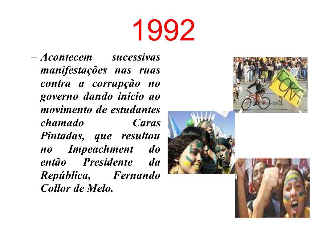 """1984 """"1,2,3,4,5 mil. Queremos eleger o presidente do Brasil!!!"""" Diretas Já! – movimento da população, com participação fundamental dos estudantes e do"""