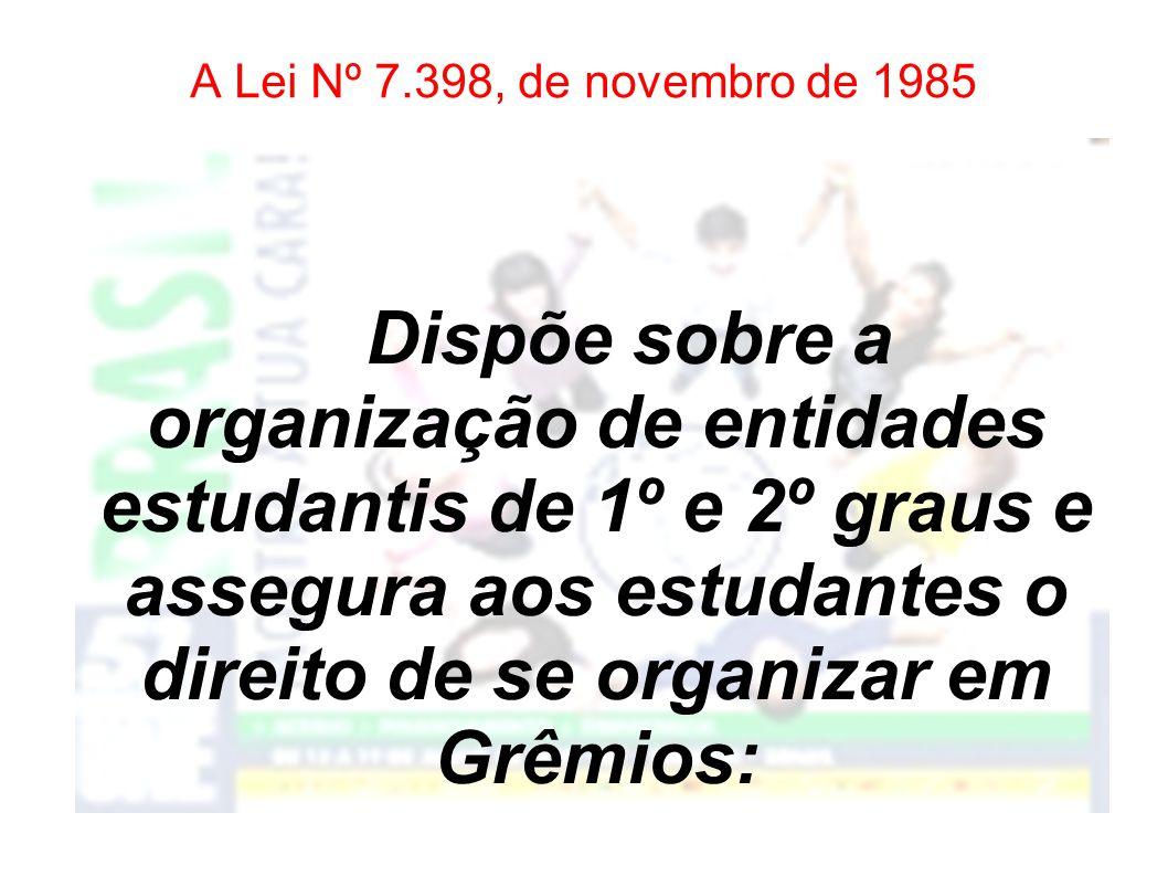 Leis que reforçam a existência do Grêmio Estudantil Lei Nº 7.398, de novembro de 1985 Lei Complementar Nº 444, de 27 de dezembro de 1985 Lei Nº 8.069, de 13 de julho de 1990 Lei Nº 7.844, de 13 de maio de 1992 Lei Nº 9.394, de 20 de dezembro de 1996 A força do movimento estudantil na história do país e a importância da participação dos alunos nas escolas motivaram a elaboração de algumas leis que garantem a existência do Grêmio Estudantil.