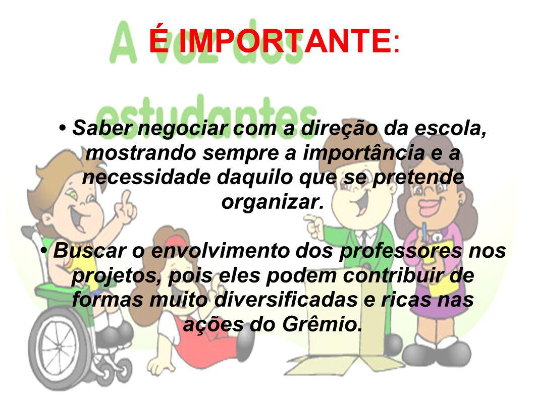 É IMPORTANTE Investir na comunicação do Grêmio: divulgar sempre e de diversas formas (por exemplo: por cartazes, rádio ou reuniões) as ações que o Grêmio realizou, está realizando e realizará