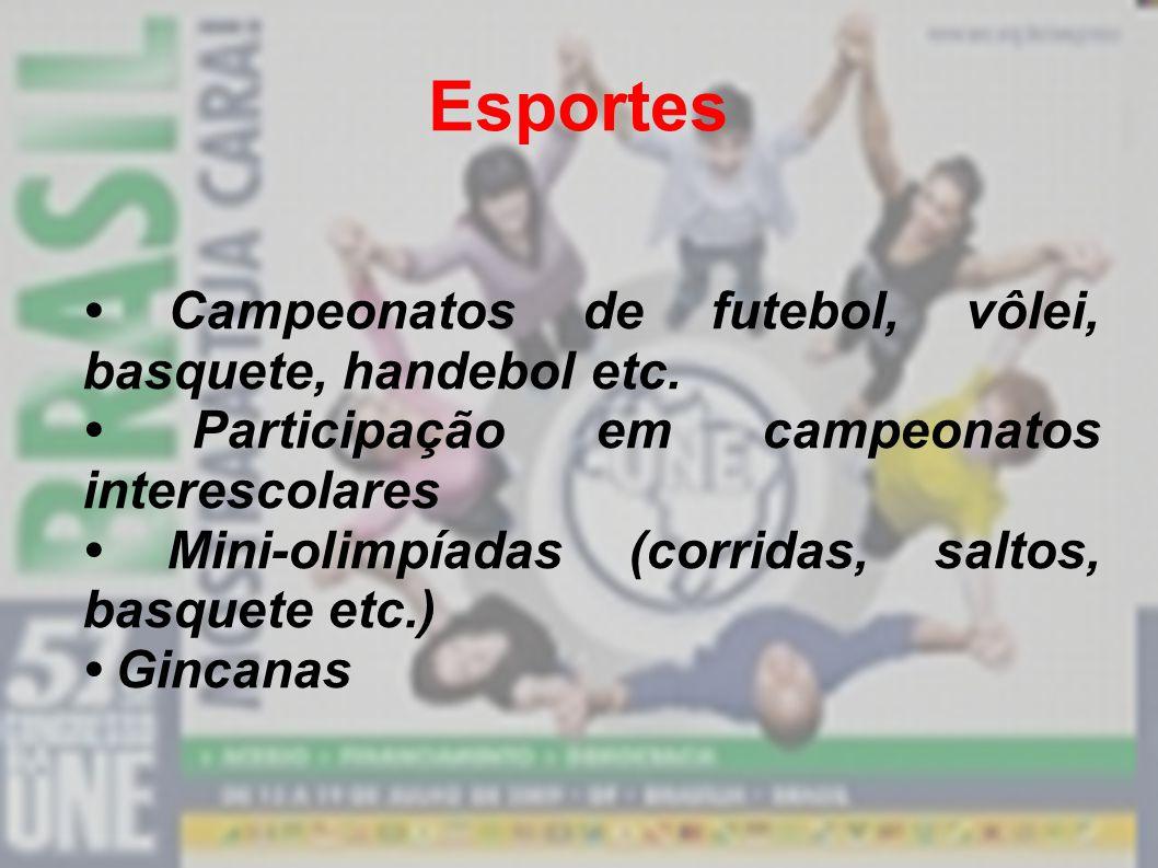 Propostas de atuação para o Grêmio Cultura Montagens de peças de teatro Dança Exposições de desenhos, pintura e escultura Festas Shows Festivais de ba
