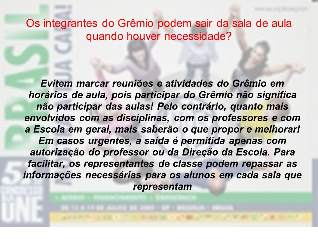 Quais alunos podem participar da diretoria do Grêmio? Qualquer aluno matriculado na escola, inscrito na chapa vencedora, poderá ser da Diretoria do Gr