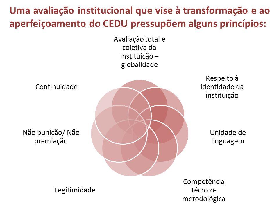 Avaliação total e coletiva da instituição – globalidade Respeito à identidade da instituição Unidade de linguagem Competência técnico- metodológica Le