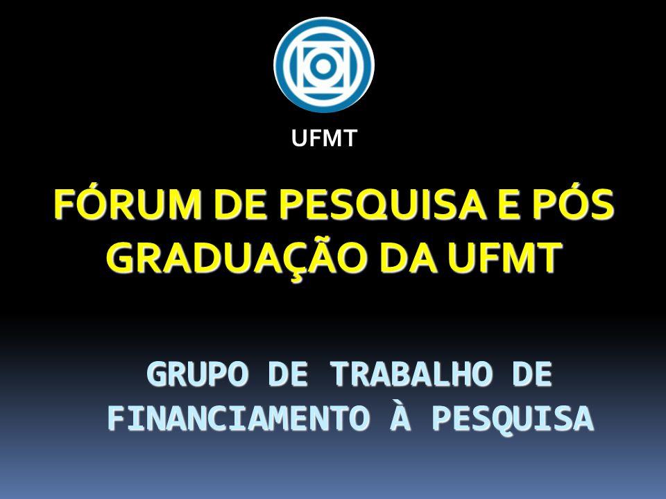 GRUPO DE TRABALHO DE FINANCIAMENTO À PESQUISA FÓRUM DE PESQUISA E PÓS GRADUAÇÃO DA UFMT UFMT
