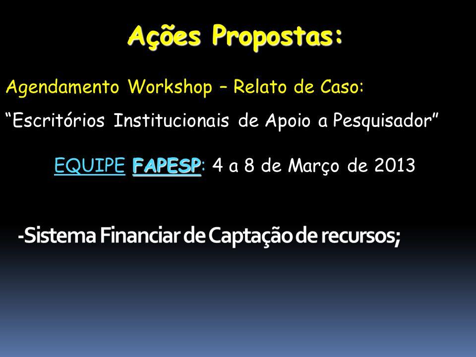 Ações Propostas: Agendamento Workshop – Relato de Caso: Escritórios Institucionais de Apoio a Pesquisador FAPESP EQUIPE FAPESP: 4 a 8 de Março de 2013
