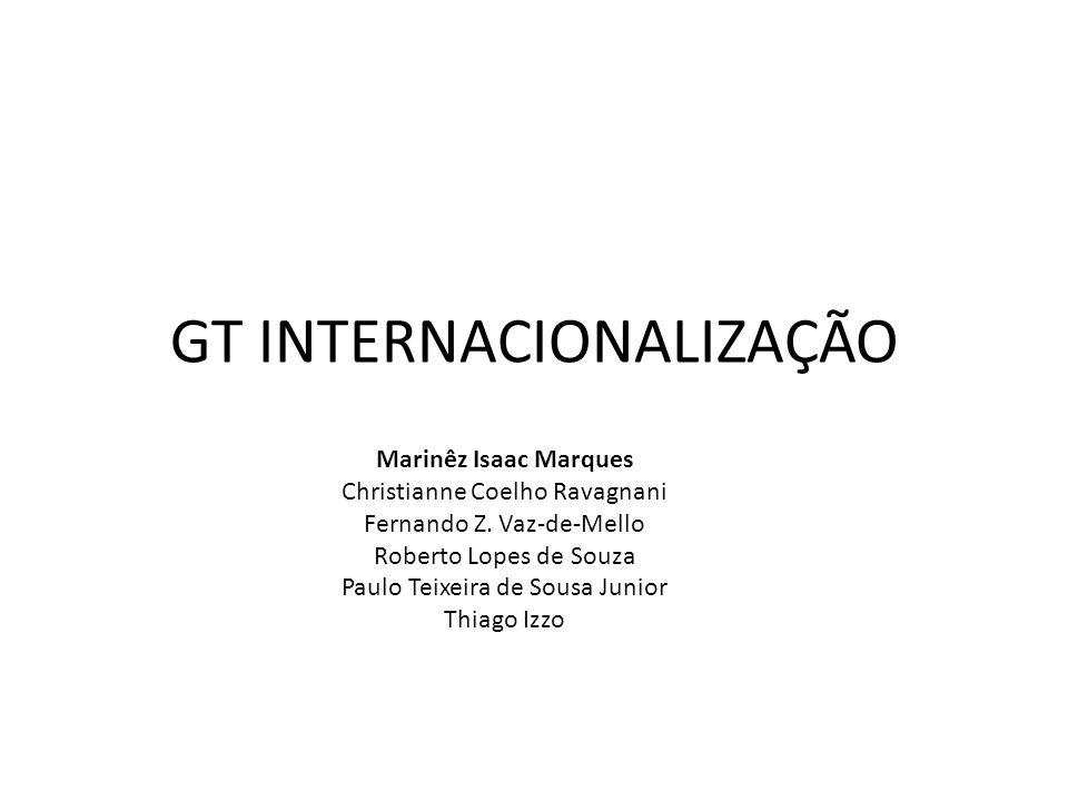 GT INTERNACIONALIZAÇÃO Marinêz Isaac Marques Christianne Coelho Ravagnani Fernando Z.