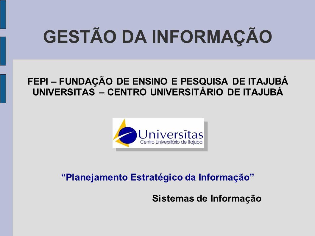 """GESTÃO DA INFORMAÇÃO FEPI – FUNDAÇÃO DE ENSINO E PESQUISA DE ITAJUBÁ UNIVERSITAS – CENTRO UNIVERSITÁRIO DE ITAJUBÁ """"Planejamento Estratégico da Inform"""