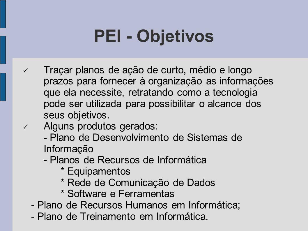 PEI - Objetivos Traçar planos de ação de curto, médio e longo prazos para fornecer à organização as informações que ela necessite, retratando como a t