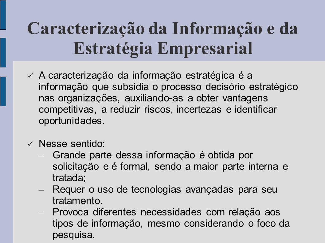 Caracterização da Informação e da Estratégia Empresarial A caracterização da informação estratégica é a informação que subsidia o processo decisório e