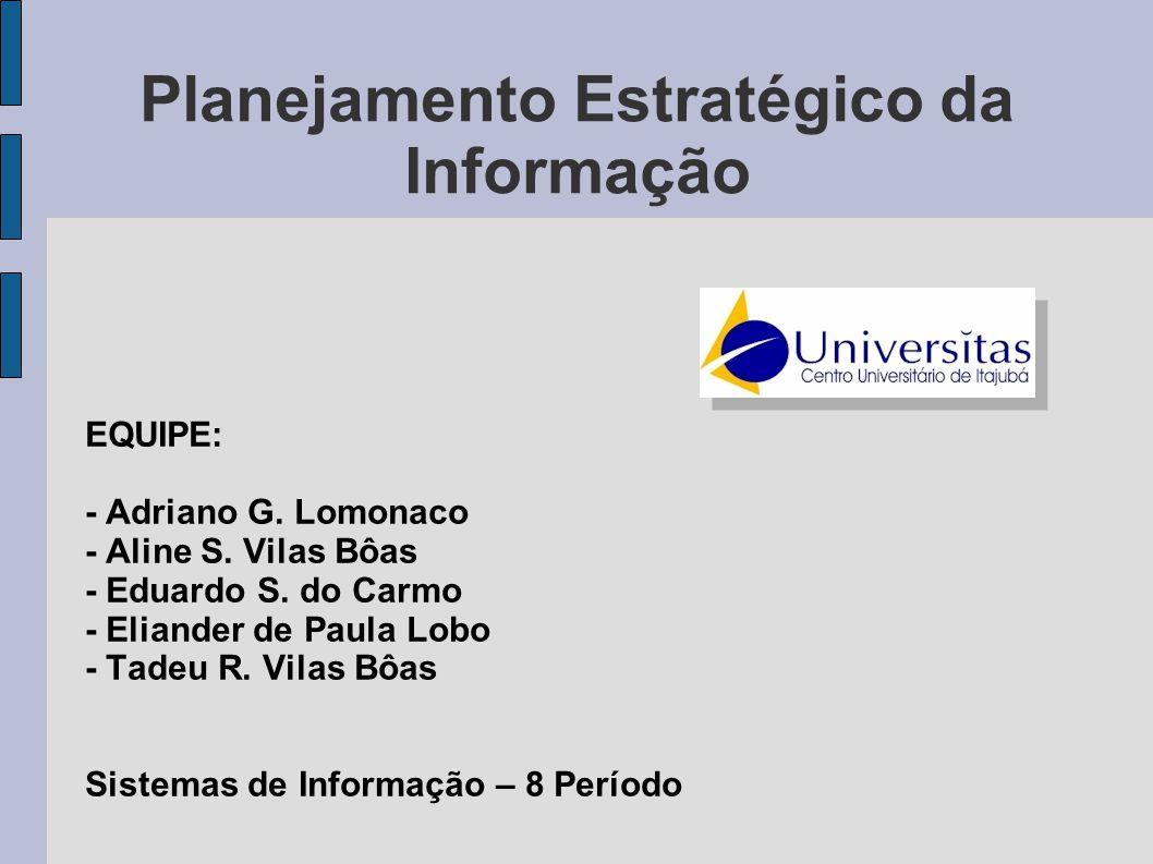 Planejamento Estratégico da Informação EQUIPE: - Adriano G. Lomonaco - Aline S. Vilas Bôas - Eduardo S. do Carmo - Eliander de Paula Lobo - Tadeu R. V