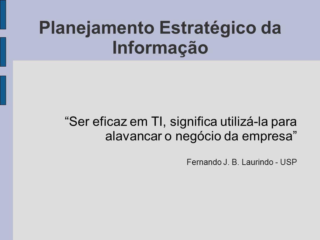 Planejamento Estratégico da Informação A vantagem competitiva advinda do uso da TI não pode ficar restrita a uma ou outra aplicação específica, mas em um processo contínuo de planejamento, implantação e operação eficaz das mais poderosas ferramentas de TI.