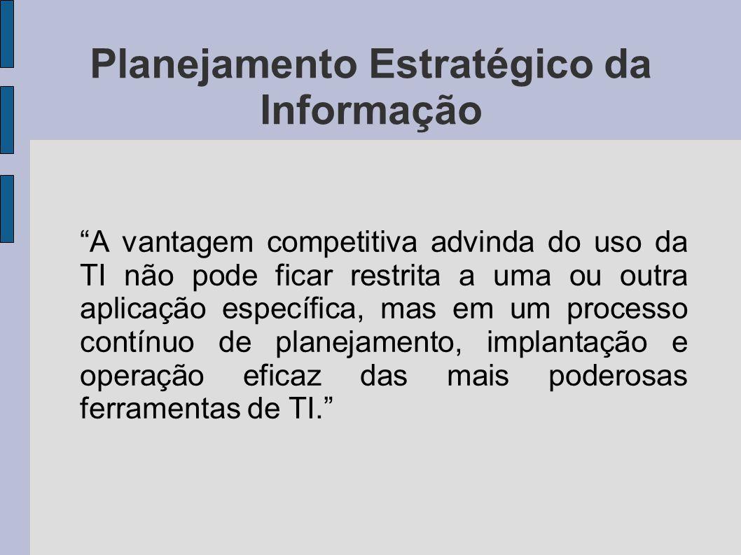 """Planejamento Estratégico da Informação """"A vantagem competitiva advinda do uso da TI não pode ficar restrita a uma ou outra aplicação específica, mas e"""