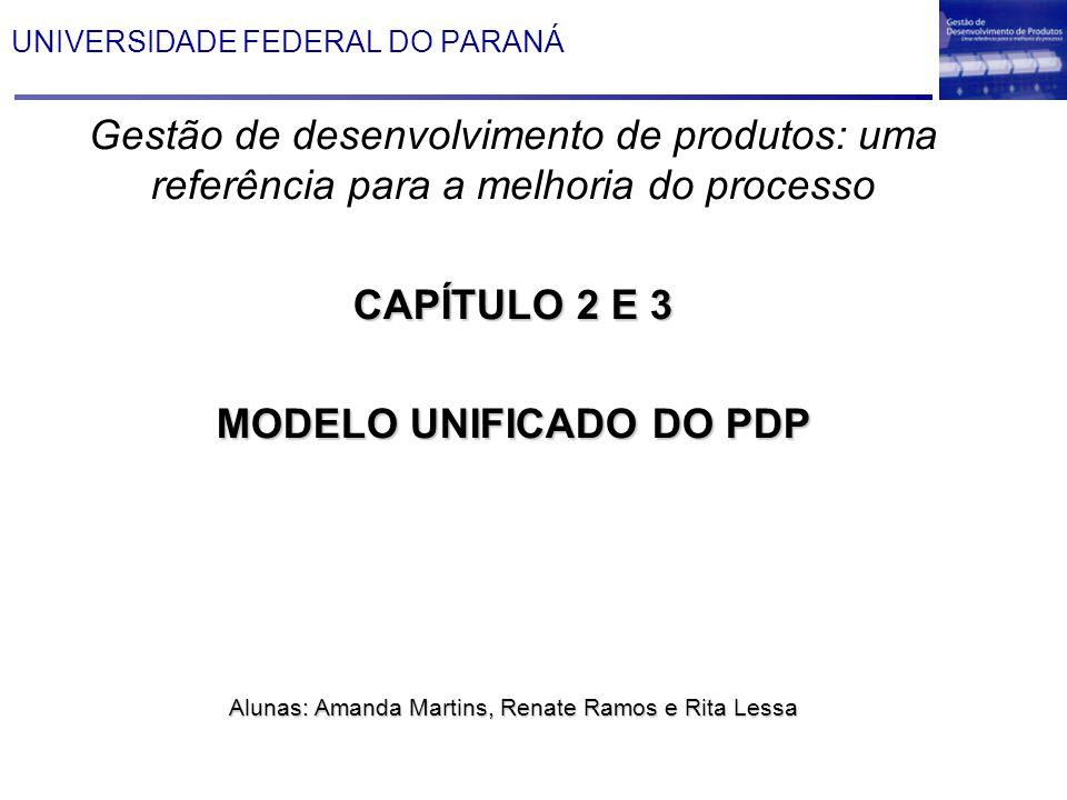 UNIVERSIDADE FEDERAL DO PARANÁ Gestão de desenvolvimento de produtos: uma referência para a melhoria do processo CAPÍTULO 2 E 3 MODELO UNIFICADO DO PD