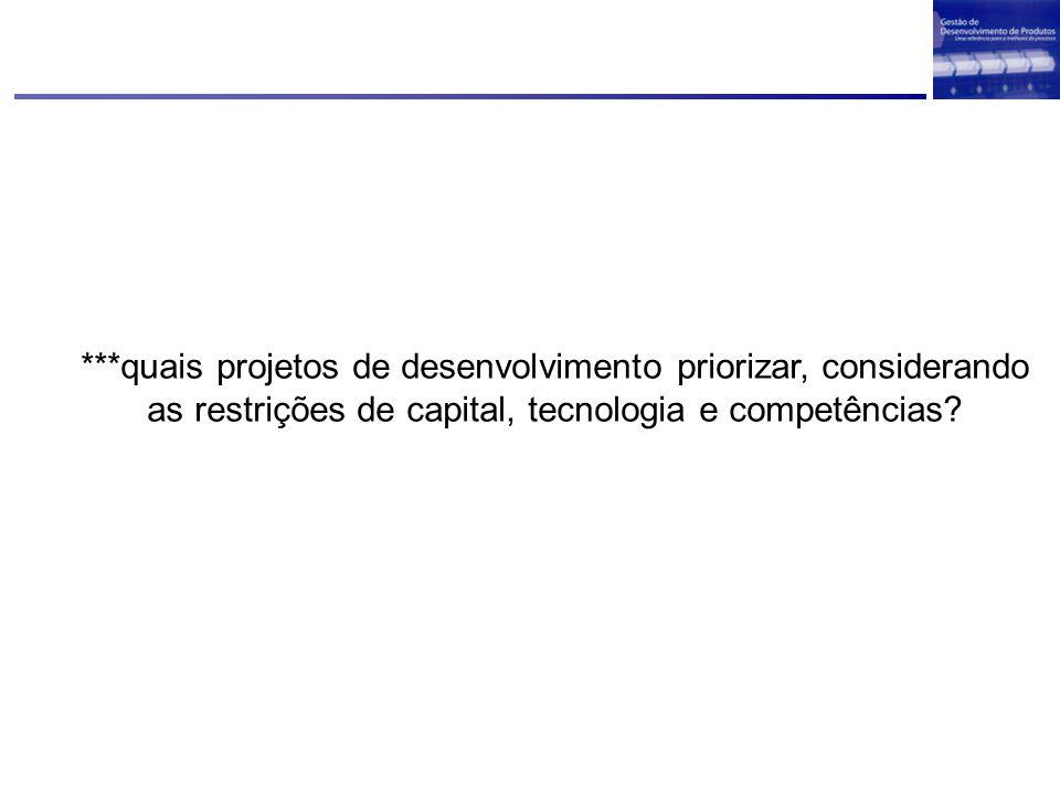 ***quais projetos de desenvolvimento priorizar, considerando as restrições de capital, tecnologia e competências?