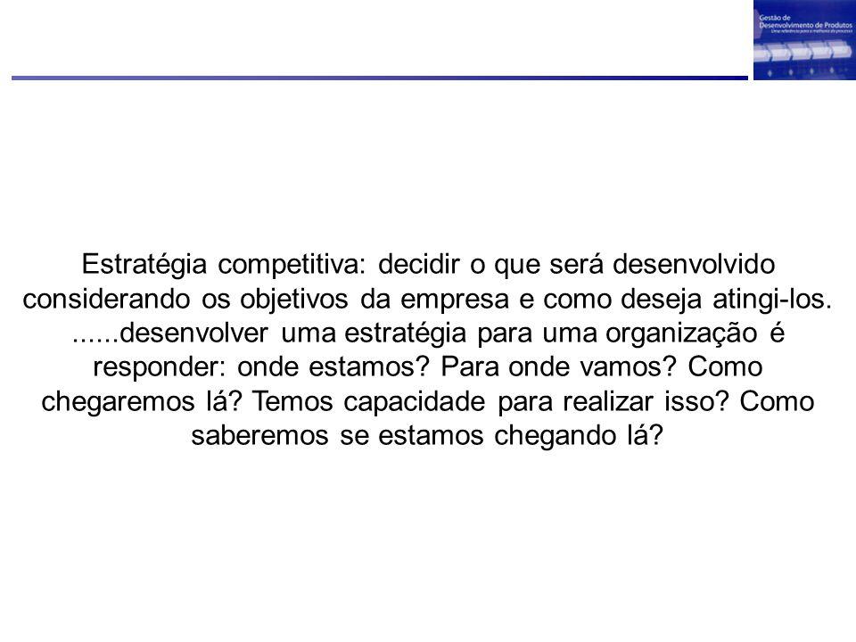 Estratégia competitiva: decidir o que será desenvolvido considerando os objetivos da empresa e como deseja atingi-los.......desenvolver uma estratégia