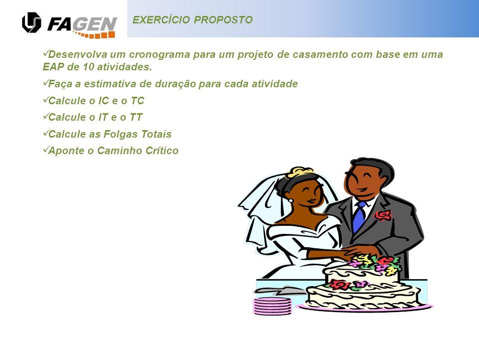 EXERCÍCIO PROPOSTO Desenvolva um cronograma para um projeto de casamento com base em uma EAP de 10 atividades. Faça a estimativa de duração para cada