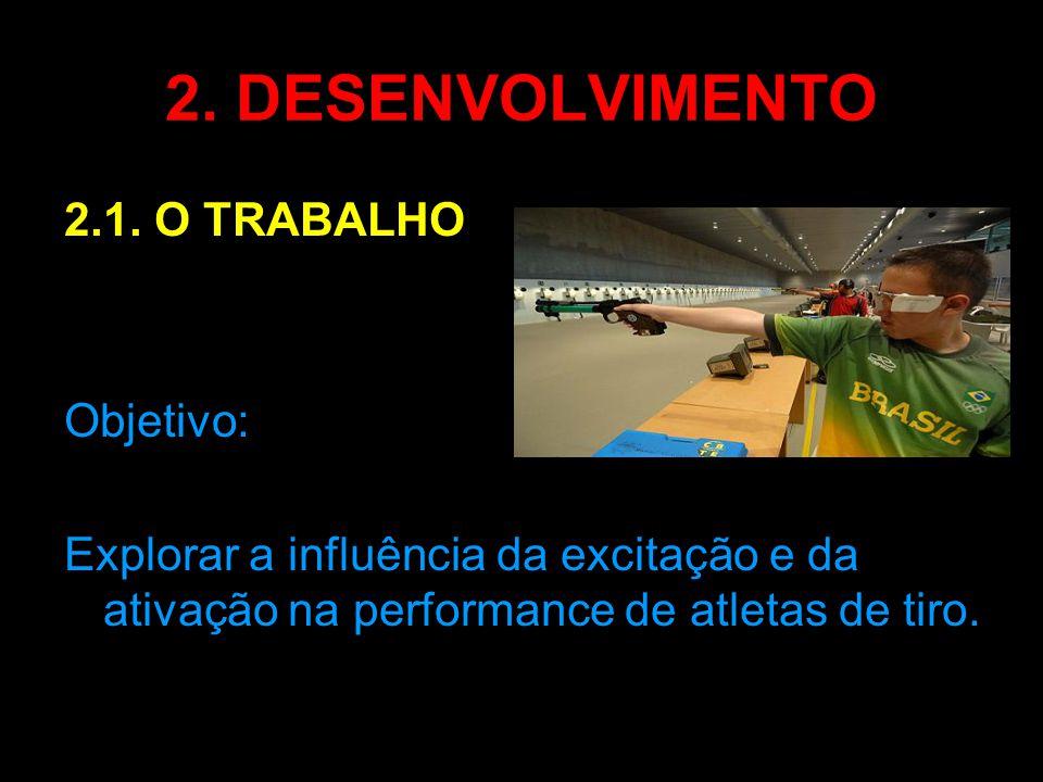 2. DESENVOLVIMENTO 2.1. O TRABALHO Objetivo: Explorar a influência da excitação e da ativação na performance de atletas de tiro.