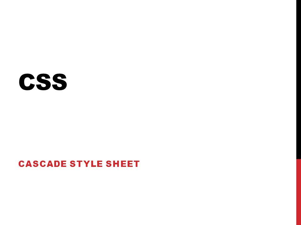 CSS CASCADE STYLE SHEET