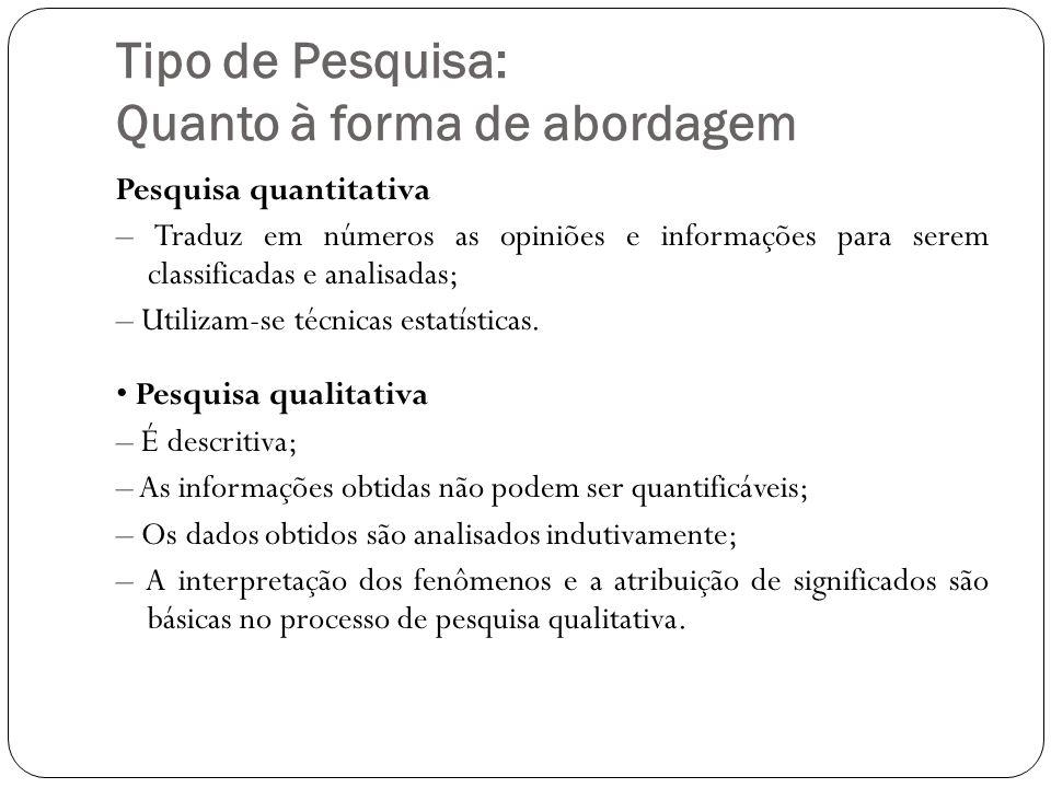 Tipo de Pesquisa: Quanto à forma de abordagem Pesquisa quantitativa – Traduz em números as opiniões e informações para serem classificadas e analisadas; – Utilizam-se técnicas estatísticas.
